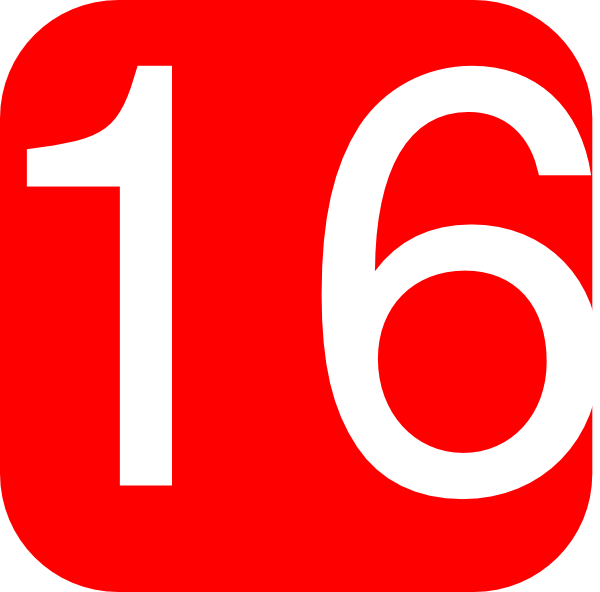 Number16 Red, Rounded, Square With Number 16 Clip Art at Clker.com ...