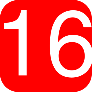 Red, Rounded, Square With Number 16 Clip Art