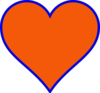 Orange & Blue Heart Clip Art