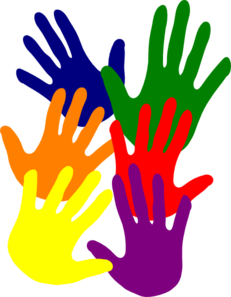 Hands - Various Colors Overlapping Clip Art