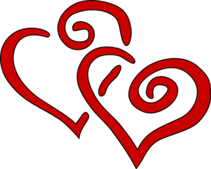 Red Swirly Hearts Clip Art