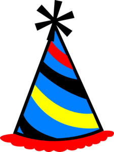 Party Hat Blue, Red & Yellow Clip Art