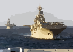Kearsarge (lhd-3) And Uss Bataan (lhd-5) Sail In Formation Clip Art