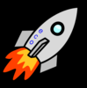 Rocket Facing Right With Flame Clip Art
