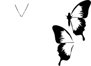 Butterfly, All White, Plain Clip Art