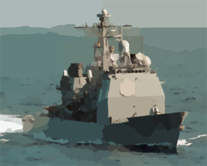 The Guided Missile Cruiser Uss Normandy (cg 60)  Makes Its Approach On The Usns John Lenthall (t-ao 189) Clip Art