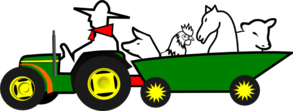 Green Tractor With Animals Clip Art