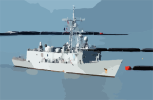 Uss De Wert (ffg 45) Passes The Newly Installed Anti-boat Barrier System Clip Art