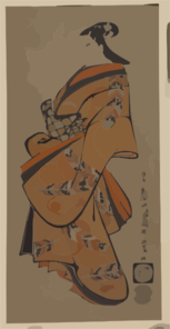 Beauty Wearing A Kimono With Falcon Feather Patterns. Clip Art