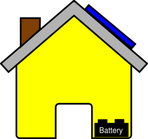 Yellow House With Solar Panel And Battery Clip Art