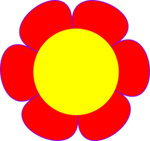 Red Flower Yellow Center Clip Art