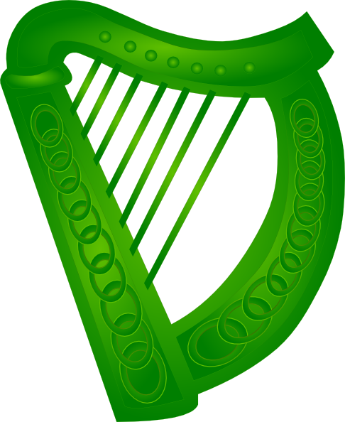 irish harp green clip art at clkercom vector clip art