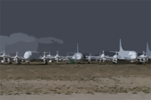 P-3 Orion Patrol Aircraft Sit In Storage At The Aerospace Maintenance And Regeneration Center (amarc). Clip Art