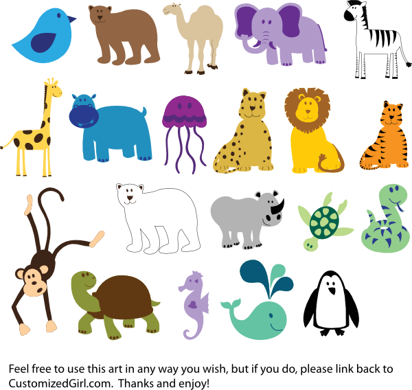 Cute Animals Clip Art at Clker.com - vector clip art online, royalty ...