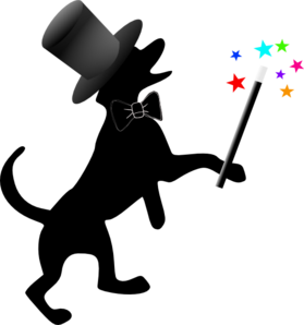 Dog Silhouette Hat Wand Clip Art