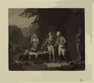 Gen. Marion In His Swamp Encampment Inviting A British Officer To Dinner  / Painted By John B. White; Engraved By John Sartain. Clip Art