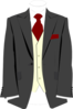 Grey Suit Burgundy Tie Clip Art