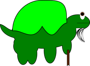 Old Tortoise With Stick Clip Art