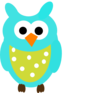 Teal Owl And Dots Clip Art