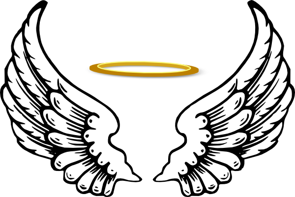 free angel wings with halo clip art - photo #2