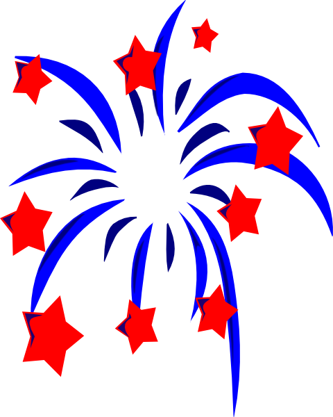 blue fireworks with red stars and accents clip art at clker com rh clker com july clip art fireworks july clip art black and white