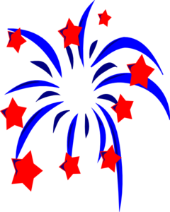 Blue Fireworks With Red Stars And Accents Clip Art
