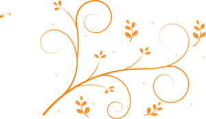 Orange Floral Vine Clip Art