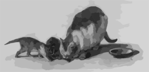 [cat And Two Kittens] Clip Art