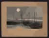 Sailboats Moored Under The Moon. Clip Art