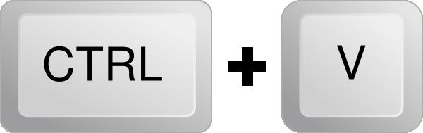 Ctrl + V  = للصق النص بعد نسخه