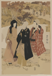 Three Actors Gathering Maple Leaves At Kaian Temple. Clip Art