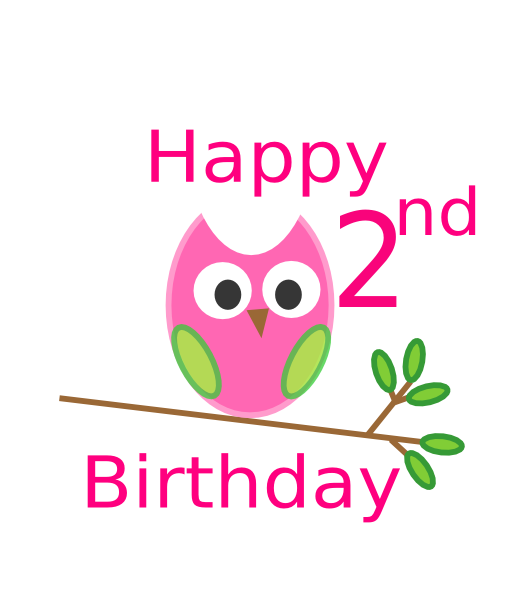 Owl 2nd Birthday Clip Art at Clker.com - vector clip art ...