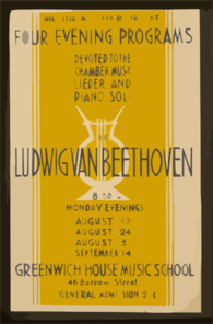 Wpa Federal Music Project Presents Four Evening Programs Devoted To Chamber Music, Lieder, And Piano Soli Of Ludwig Van Beethoven Clip Art