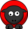 Sheep - Red On Red On Black Googly Eyes Clip Art