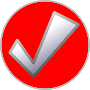 Red Tick Button Clip Art