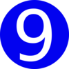 Blue, Rounded,with Number 9 Clip Art
