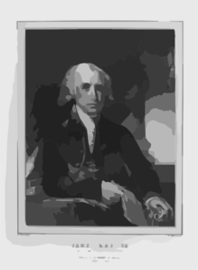 James Madison, 4th President Of The United States  / G. Stuart Pinxt. ; W. Ball On Stone. Clip Art