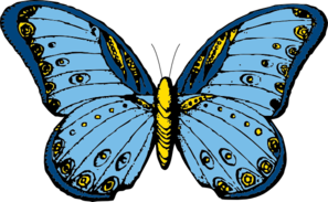 Large Blue Butterfly Clip Art