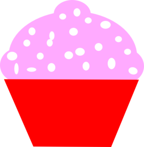 Cupcake Red Pink Circle Clip Art