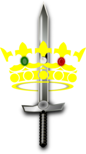Jeweled Crown And Sword Clip Art