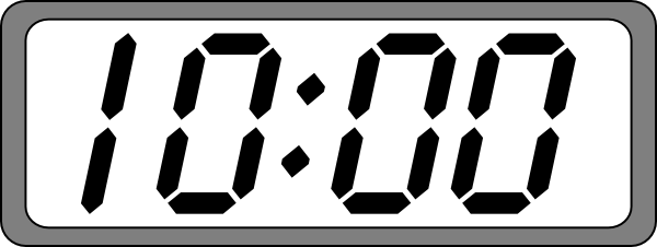 Digital Clock Black & White Clip Art at Clker.com - vector ...