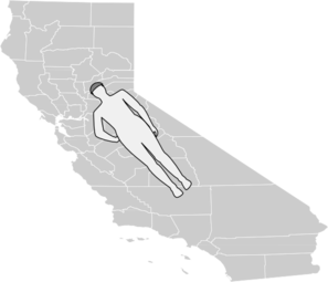 Man Shape Lying On California Map Clip Art