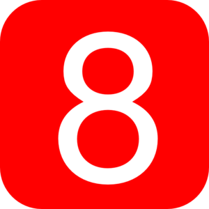 Red, Rounded, Square With Number 8 Clip Art