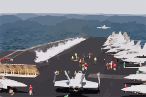 An F/a-18c  Hornet  Is Launched From The Ship S Flight Deck While Another Stands By. Clip Art