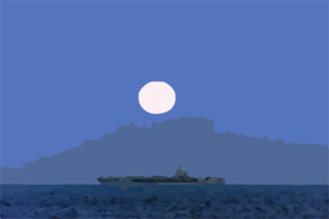 A Full Moon Illuminates The Nuclear Aircraft Carrier Carl Vinson. Clip Art