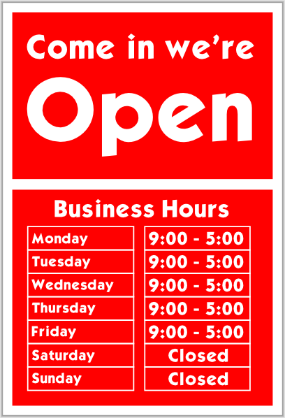 Cake Art Opening Hours : Come In We Are Open Sign Clip Art at Clker.com - vector ...
