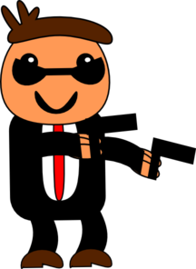 Spy In Black Suit Clip Art