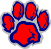 Blue Red Tiger Paw Clip Art