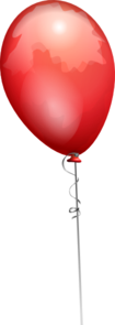 Red Balloon Long String Clip Art