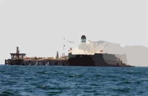 Commercial Oil Tanker Abqaiq Is Helped Into Position By Tugboats Prior To Receiving Crude Oil Clip Art